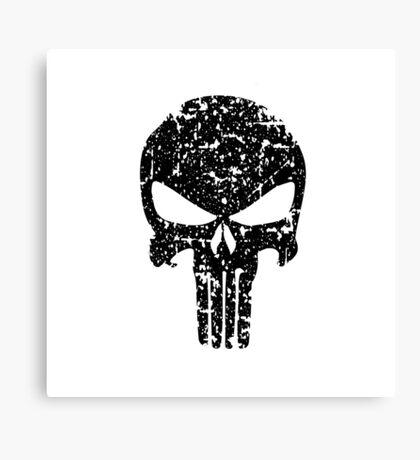 The Punisher Skull Black Distress Marvel Fanart Canvas Print