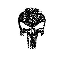 The Punisher Skull Black Distress Marvel Fanart Photographic Print