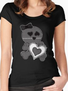 Skull Patchwook Lace Design - Valentine Women's Fitted Scoop T-Shirt