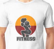 Fitness club emblem with training athletic woman Unisex T-Shirt