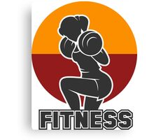 Fitness club emblem with training athletic woman Canvas Print