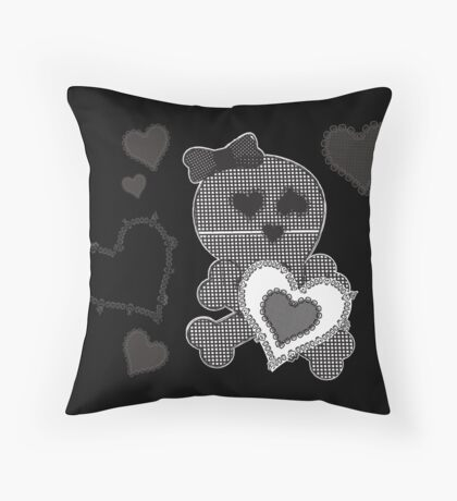 Skull Patchwook Lace Design - Valentine Throw Pillow