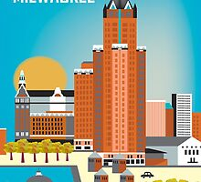 Milwaukee, Wisconsion - Vertical Retro Themed Skyline by Loose Petals by Loose  Petals