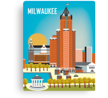 Milwaukee, Wisconsion - Vertical Retro Themed Skyline by Loose Petals Canvas Print