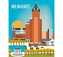 Milwaukee, Wisconsion - Vertical Retro Themed Skyline by Loose Petals Photographic Print