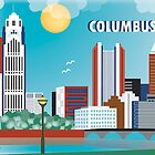 Columbus, Ohio - Vertical Retro Travel Themed Skyline by Loose Petals by Loose  Petals