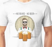 Hipster Beer Illustration with moto No beard no beer Unisex T-Shirt