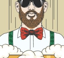 Hipster Beer Illustration with moto No beard no beer Sticker