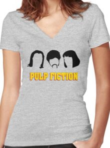 -TARANTINO- Pulp Fiction Characters Women's Fitted V-Neck T-Shirt