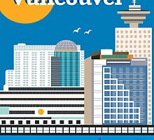 Vancouver, British Columbia, Canada - Vertical Retro Travel Style Skyline by Loose Petals by Loose  Petals