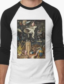 Hieronymus Bosch - The Garden Of Earthly Delights Art Fragment Painting: eden, hell, beauty, adam, retro animals, birds, cool love, trendy gift, celebration, vintage monster, doodle, birthday, fantasy Men's Baseball ¾ T-Shirt
