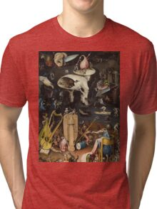 Hieronymus Bosch - The Garden Of Earthly Delights Art Fragment Painting: eden, hell, beauty, adam, retro animals, birds, cool love, trendy gift, celebration, vintage monster, doodle, birthday, fantasy Tri-blend T-Shirt
