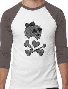 Skulls & Lace - Crossbones Heart Graphic Men's Baseball ¾ T-Shirt
