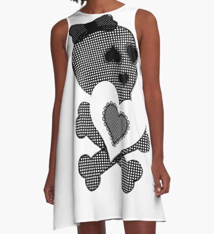 Skulls & Lace - Crossbones Heart Graphic A-Line Dress