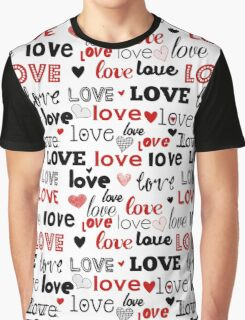 Too Cute Studio Love Typography in Red and Black Graphic T-Shirt