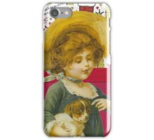 Cute Victorian Christmas Child With Dog iPhone Case/Skin