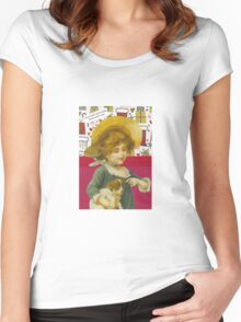Cute Victorian Christmas Child With Dog Women's Fitted Scoop T-Shirt