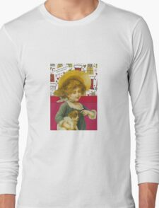 Cute Victorian Christmas Child With Dog Long Sleeve T-Shirt