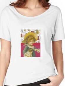 Cute Victorian Christmas Child With Dog Women's Relaxed Fit T-Shirt