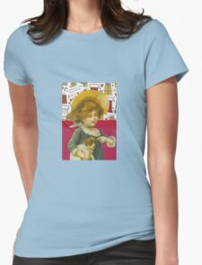 Cute Victorian Christmas Child With Dog Womens Fitted T-Shirt