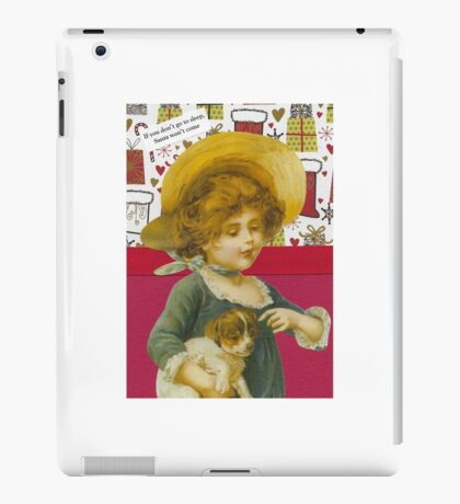 Cute Victorian Christmas Child With Dog iPad Case/Skin