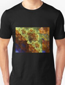 Gold and Blue Tapestry - Abstract Fractal Artwork Unisex T-Shirt