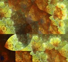 Gold and Blue Tapestry - Abstract Fractal Artwork Sticker