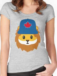 Full Print - Blue Jays No Fear Lion Emoji Women's Fitted Scoop T-Shirt