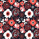 Seamless pattern of bright flowers by Tanor