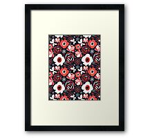 Seamless pattern of bright flowers Framed Print