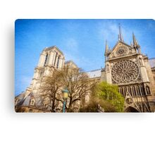 Notre Dame South Facade and Rose Window Canvas Print