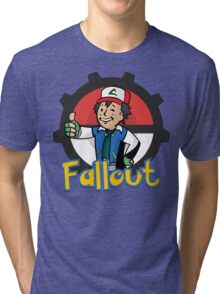 Fallout Vault Boy / Ash Pokemon Crossover Tri-blend T-Shirt