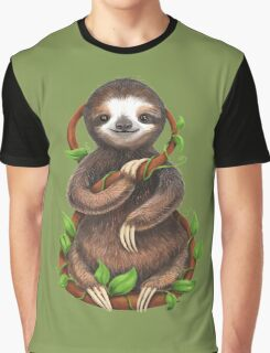 Happy Sloth in the Jungle Graphic T-Shirt