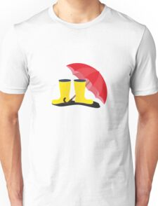 Rubber boots and umbrella   Unisex T-Shirt