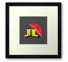 Rubber boots and umbrella   Framed Print
