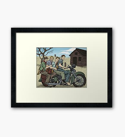Dad with the Gang Framed Print