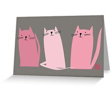 Three Little Pink Cats Greeting Card