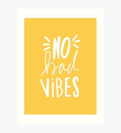 No Bad Vibes - Yellow hand lettered typography Art Print