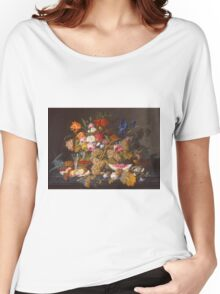 Severin Roesen - Still Life With Fruit 1850. Still life with fruits and vegetables: strawberries , champagne,, lemon , grapes , cherries, peaches, apples, pears, apricots, raspberries, vase Women's Relaxed Fit T-Shirt