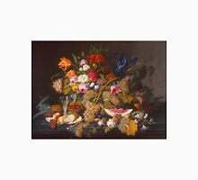 Severin Roesen - Still Life With Fruit 1850. Still life with fruits and vegetables: strawberries , champagne,, lemon , grapes , cherries, peaches, apples, pears, apricots, raspberries, vase Unisex T-Shirt