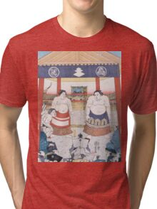 Utagawa Yoshifuji - The Ring Entering Ceremony At Subscription Sumo 1851. People portrait:  people,  sumo,  traditional,  wrestler,  wrestling,  fat,  overweight,  rice,  sport,  body,  society Tri-blend T-Shirt