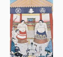 Utagawa Yoshifuji - The Ring Entering Ceremony At Subscription Sumo 1851. People portrait:  people,  sumo,  traditional,  wrestler,  wrestling,  fat,  overweight,  rice,  sport,  body,  society Unisex T-Shirt
