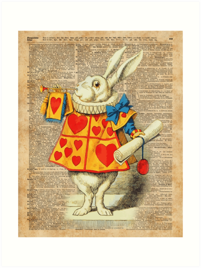 quotwhite rabbit with trumpetalice in wonderlandvintage