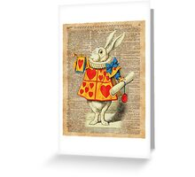 White Rabbit with Trumpet,Alice in Wonderland,Vintage Dictionary Book Page Art Greeting Card