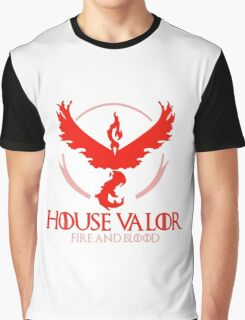 House Valor (GOT + Pokemon GO) Red text Graphic T-Shirt