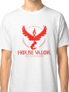House Valor (GOT + Pokemon GO) Red text Classic T-Shirt