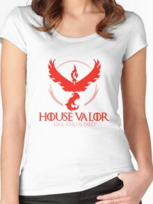 House Valor (GOT + Pokemon GO) Red text Women's Fitted Scoop T-Shirt