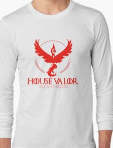 House Valor (GOT + Pokemon GO) Red text Long Sleeve T-Shirt
