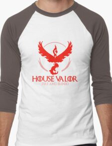 House Valor (GOT + Pokemon GO) Red text Men's Baseball ¾ T-Shirt