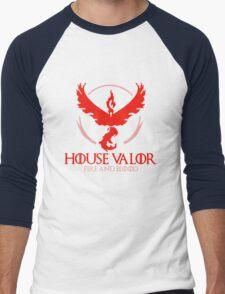 House Valor (GOT + Pokemon GO) Red text Men's Baseball ¾ T-Shirt